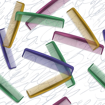Tło z kolorowymi grzebieniami dla fryzjerów i salonów kosmetycznych