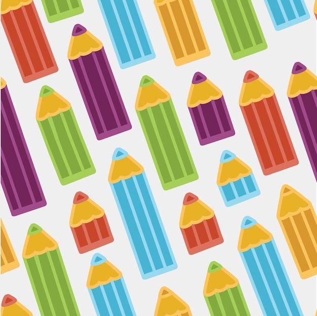 Tło z kolorowymi kredkami. wzór.