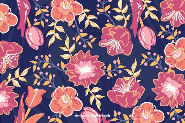 Tło z kolorowymi malowanymi kwiatami