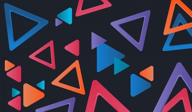 Tło z kolorowymi nieregularnymi trójkątnymi kształtami, styl memphis