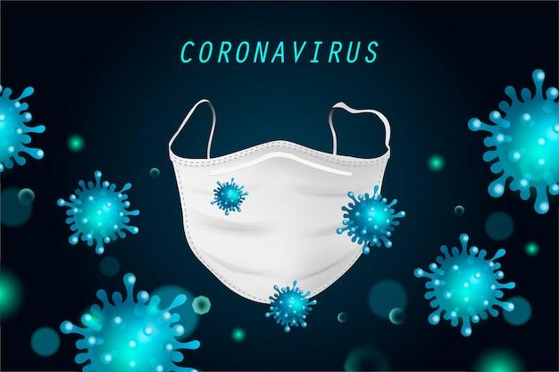 Tło z koronawirusem i maski medyczne. pojęcie ochrony.