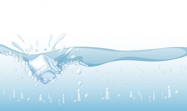 Tło z kostką lodu bryzga w wodzie