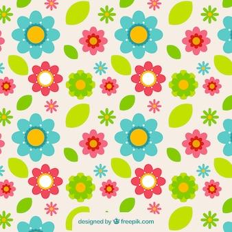 Tło z kwiatów i kolorowych liści