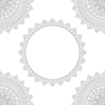 Tło z kwiatowymi mandalami, kolorowanka, ilustracji wektorowych