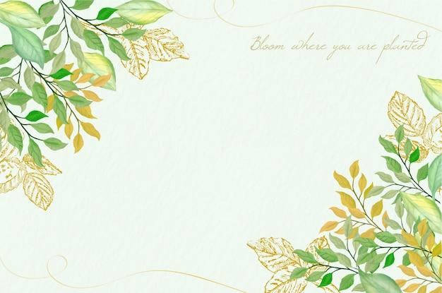 Tło z liści akwarela i złoty