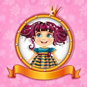 Tło z małą księżniczką z różowymi włosami.