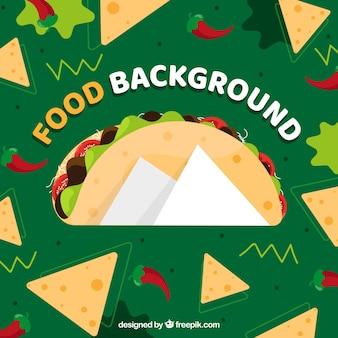 Tło z meksykańskim jedzeniem