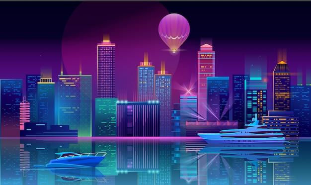 Tło z miastem noc w neony