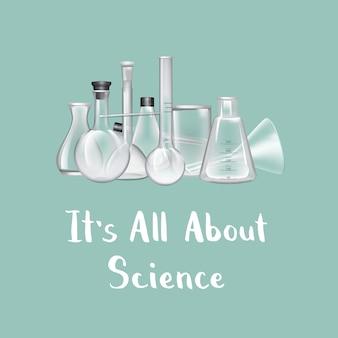 Tło z miejscem na tekst i ilustracji szklanych probówek laboratorium chemicznego