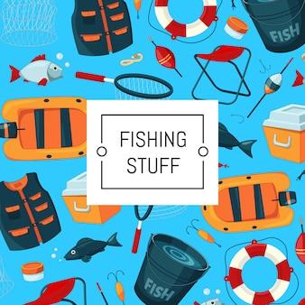 Tło z miejscem na tekst z ilustracja sprzęt rybacki kreskówka