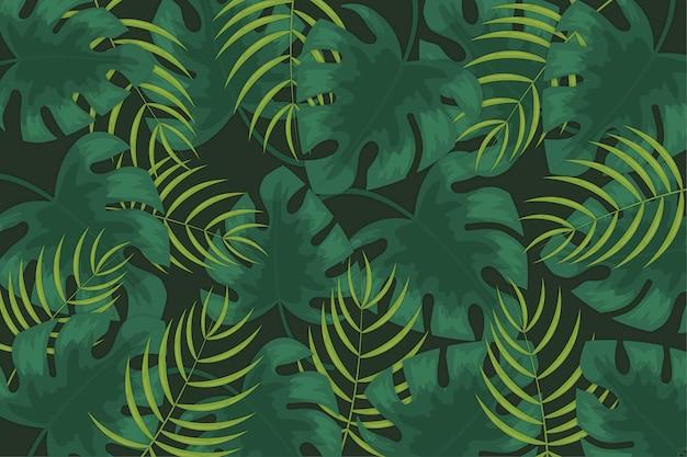 Tło z motywem liści tropikalnych