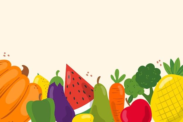 Tło z motywem owoców i warzyw