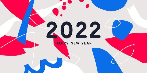 Tło z napisem szczęśliwego nowego roku 2022 ilustracji wektorowych w stylu płaski płaski