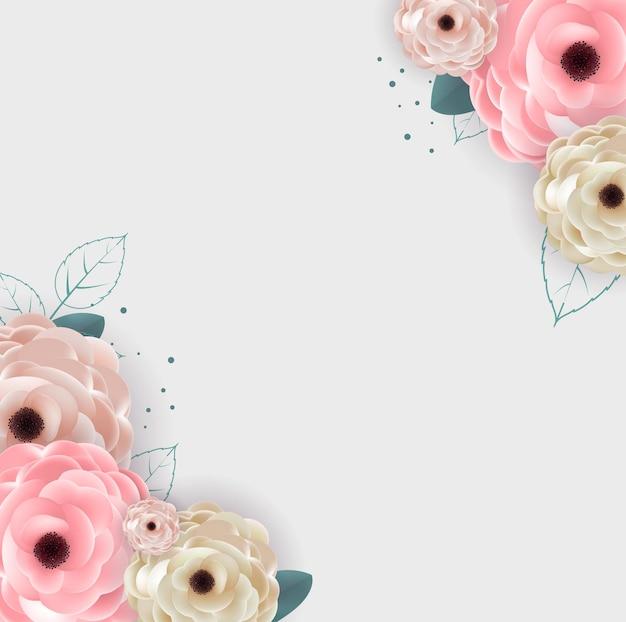 Tło z naturalnych kwiatów i liści szablon
