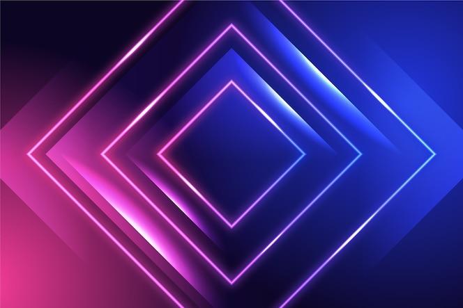 Tło z neonów i kwadratów