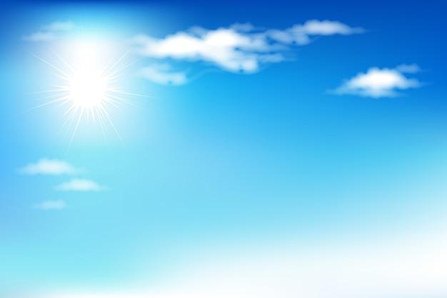Tło z niebieskim niebem i chmurami