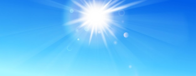 Tło z niebieskim niebem, słońcem, promieniami i flarą obiektywu