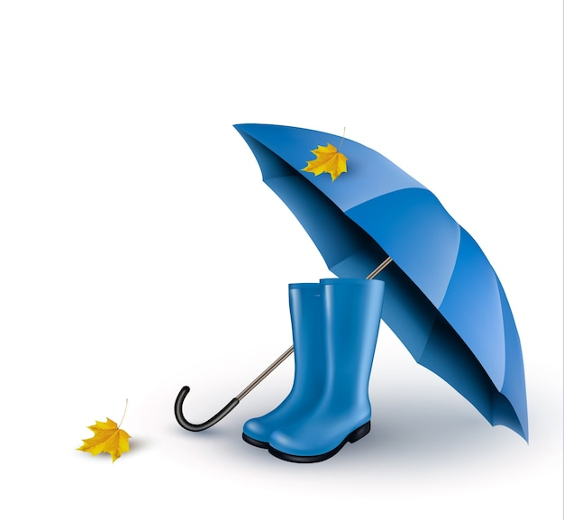 Tło z niebieskim parasolem i kaloszami.