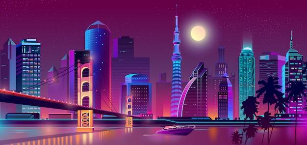 Tło z nocy miastem w neonowych światłach