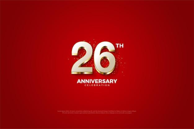 Tło z okazji 26. rocznicy z luksusową złotą nakładką z cyframi
