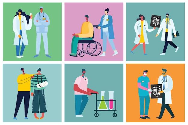 Tło z osobami niepełnosprawnymi i przyjaciółmi w pobliżu pomocy