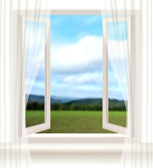 Tło z otwartym oknem i krajobrazem.
