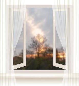 Tło z otwartym oknem i wieczorem w tle.