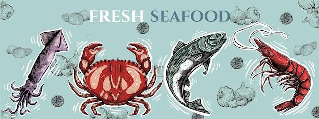 Tło z owocami morza z krewetkami rybnymi i kałamarnicami w stylu grawerowania