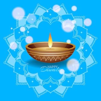 Tło z panterną mandali na szczęśliwy festiwal diwali