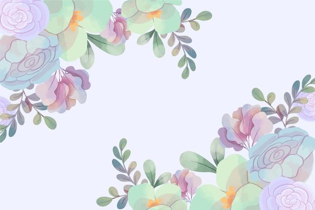 Tło z pastelowych kwiatów akwarela