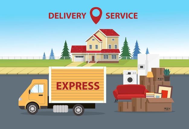 Tło z pudełkami ciężarówka i dom dostawa koncepcja dla firmy transportowej dla ilustracji przeniesienia w stylu płaski