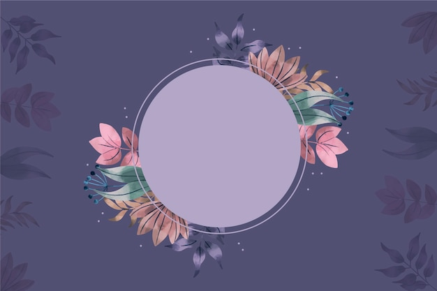 Tło z pustą odznaką i zimowymi kwiatami