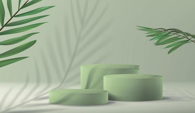 Tło z pustym postumentem do prezentacji produktu w minimalistycznym stylu z rośliną palmową i cieniem w pastelowej zieleni.