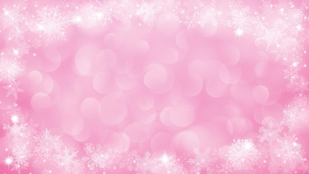 Tło z ramką płatki śniegu w kształcie elipsy w różu z efektem bokeh