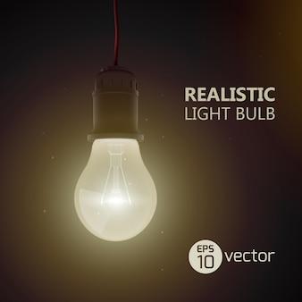 Tło z realistyczną żarową lampą elektryczną świecącą w ciemnym pokoju wiszącą na przewodowej żarówce z ilustracją tekstu tytułowego