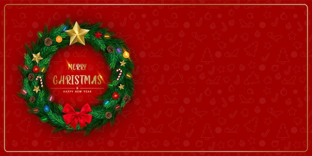 Tło z realistycznym świątecznym wieńcem z gałązek sosny ozdobione gwiazdą, szyszkami, migającym światłem.