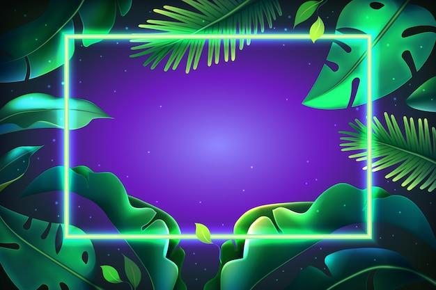 Tło z realistycznymi liśćmi w neonowym stylu ramki