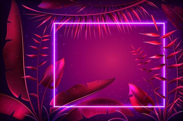 Tło z realistycznymi liśćmi z neonową ramką