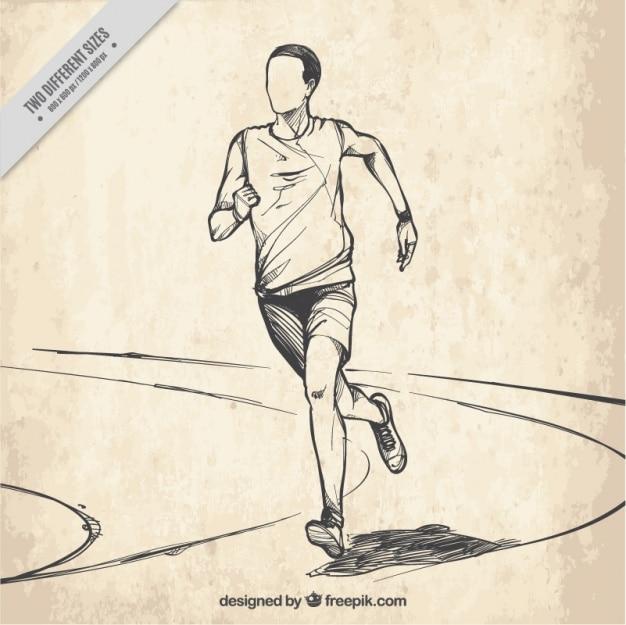 Tło z ręcznie rysowane biegacza