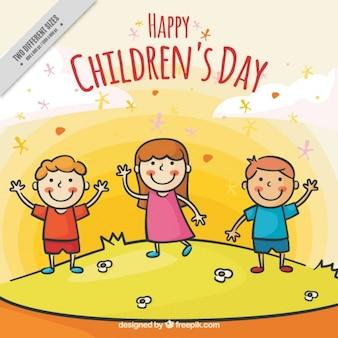 Tło z ręcznie rysowane dzień szczęśliwy dzieci