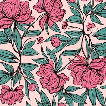 Tło z ręcznie rysowane kwiatów i liści