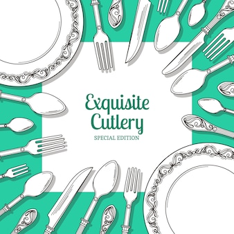 Tło z ręcznie rysowane naczynia wokół placu z miejscem na tekst z cieniami. ilustracja restauracyjny sztandar z tableware