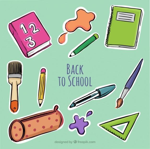Tło z ręcznie rysowane przyborów szkolnych