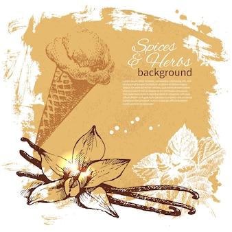 Tło z ręcznie rysowane szkic zioła i przyprawy. projekt menu