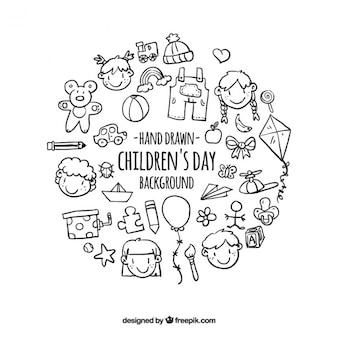 Tło z ręcznie rysowanych elementów dzieci