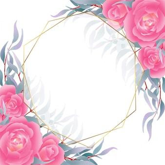 Tło z róż i granatowe liście dekoracji w stylu przypominającym akwarele