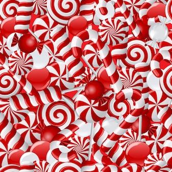 Tło z różnymi czerwonymi i białymi cukierkami. wzór. ilustracja