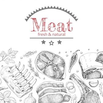 Tło z różnymi produktami mięsnymi