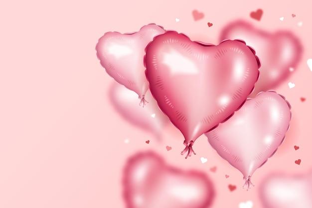Tło z różowymi balonami w kształcie serca na walentynki