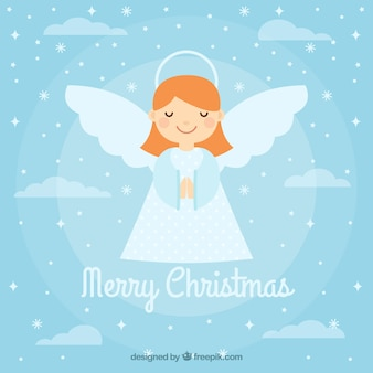 Tło z słodkim aniołem bożego narodzenia